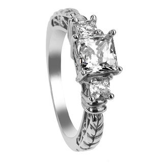 FLORA Three Princess Cut Settings Palladium Engagement Ring with Filagree Pattern - MADE WITH SWAROVSKI® ELEMENTS