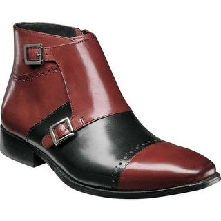 Stacy Adams Men's Kason Double Monk Strap Ankle Boot Burgundy/Black Buffalo Leather