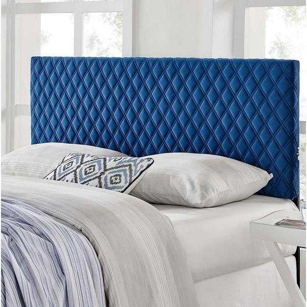 Lemont Diamond Shaped Blue Velvet Upholstered King Size Headboard