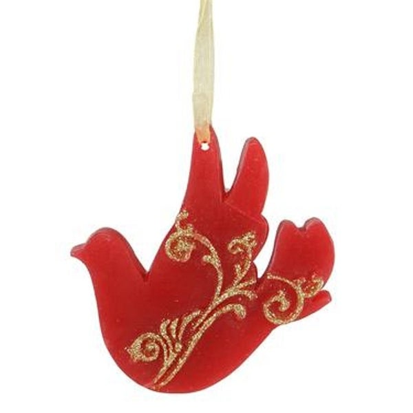 "4"" Cinnamon Scented Red Wax Dove with Ribbon Christmas Ornament"