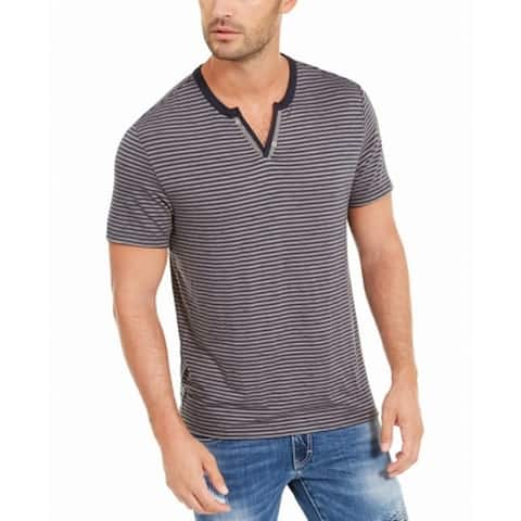 INC Mens Shirt Gray Size XL Striped Split-Neck Short Sleeve T-Shirt