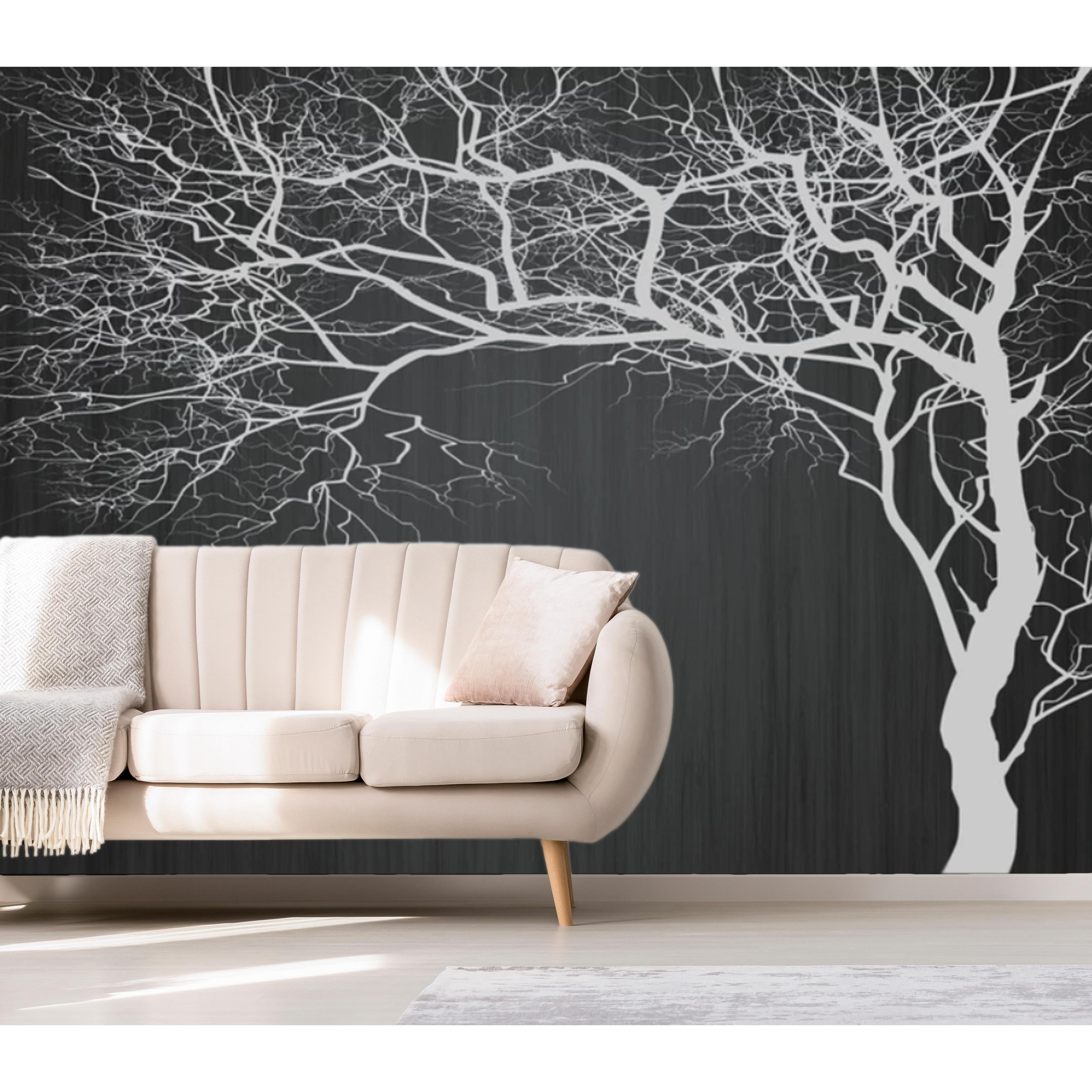Monochrome Abstract Minimalist Trees Textile Wallpaper Overstock 31419713