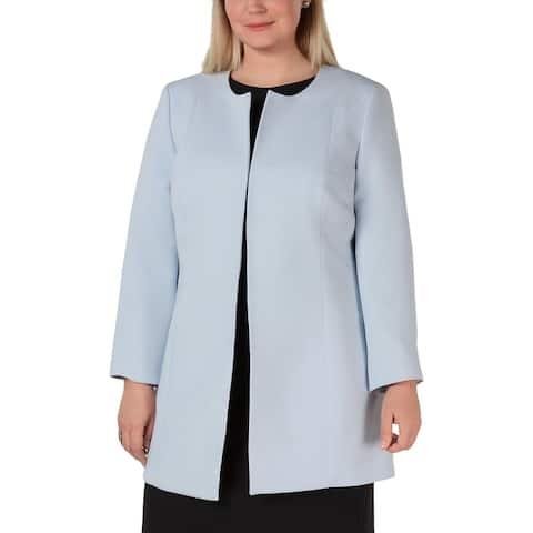 Kasper Womens Plus Topper Jacket Collarless Midi - Powder Blue - 18W