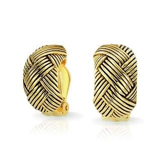 Woven Braided Basket Weave Wide Half Hoop Clip On Earrings Button Style Non Pierced Ears Oxidized Gold Plated Brass