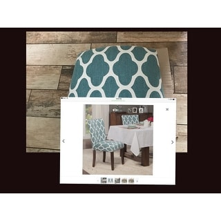 ... HomePop Classic Parsons Dining Chair   Geo Brights Teal (Set Of 2)