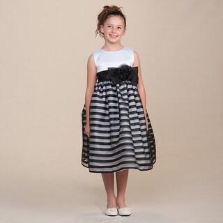 Crayon Kids Little Girls Black White Satin Stripes Flower Girl Easter Dress 2T-6