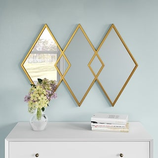 """Link to Aspire Home Accents 7456 Azra 24-1/2"""" x 34-1/2"""" Geometric Flat Metal - Gold Similar Items in Mirrors"""