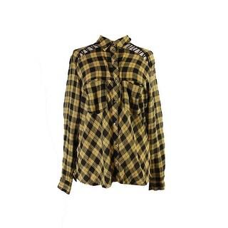 Free People Yellow Black Plaid Lace Up Shirt M