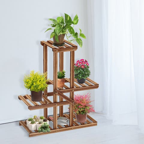 Kinsunny Wooden Plant Stand Flower Planter Display Stand Indoor Storage Rack Unpainted Sturdy Suitable for Balcony Garden