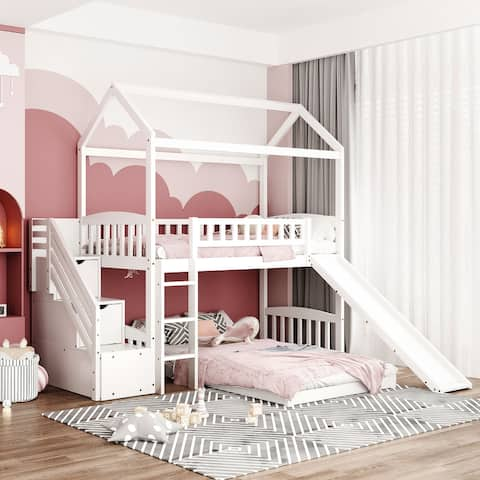 White Twin Over Twin Bunk Bed with Slide and 2 Drawers