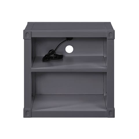 Industrial Iron Nightstand with USB,2 Open shelves
