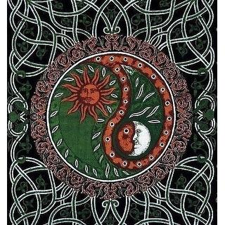 Handmade Celtic Celestial Yin Yang 100% Cotton Tapestry Bedspread Copper Twin Full
