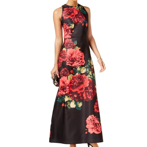 SLNY Black Red Womens Size 2 Floral-Print High-Neck Gown Dress