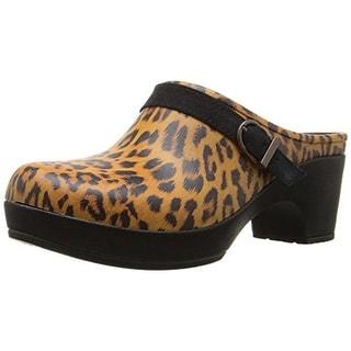 Crocs Womens Sarah Graphic Clogs Faux Leather Leopard Print