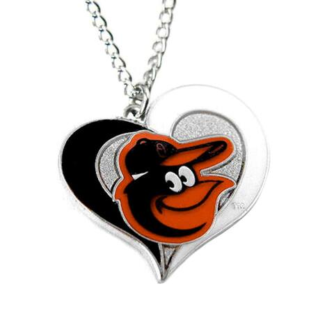 MLB Baltimore Orioles Sports Team Logo Swirl Heart Necklace