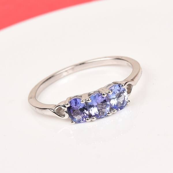 Tanzanite Trilogy Ring in Platinum over Sterling Silver sz 6