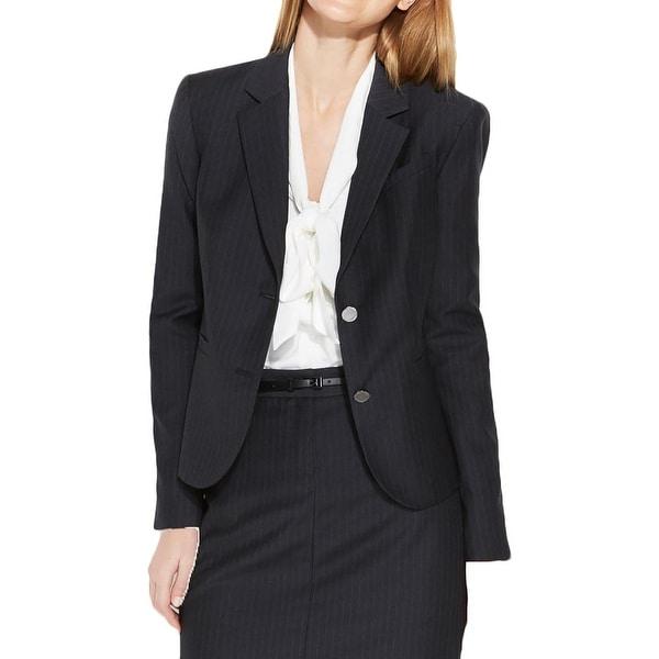 Calvin Klein Womens Petites Two-Button Blazer Woven Pinstripe
