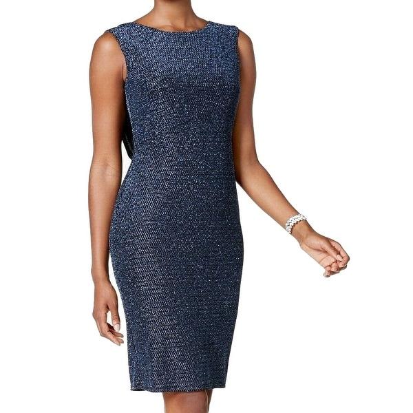 259fb8d9094d Shop Jessica Howard Black Blue Womens Size 16 Metallic Drape-Back ...