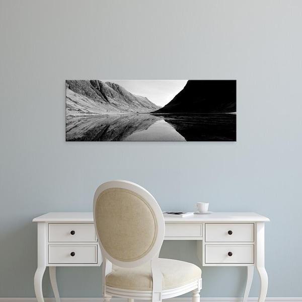 Easy Art Prints Panoramic Image 'Mountains in lake, Loch Achtriochtan, Glencoe, Highlands Region, Scotland' Canvas Art