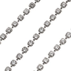 Czech Crystal Silver Plated Rhinestone Cup Chain 18PP Crystal (By The Foot)