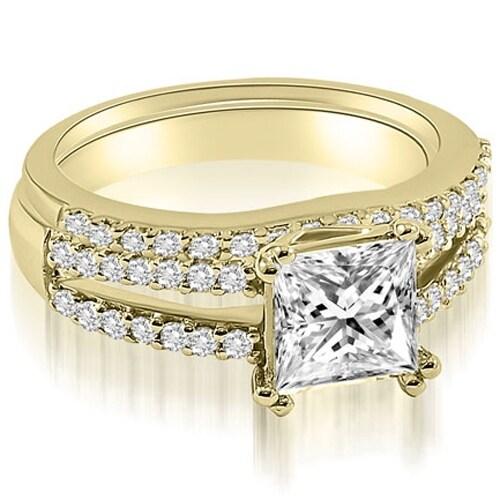 1.09 cttw. 14K Yellow Gold Princess Cut Split Shank Diamond Bridal Set
