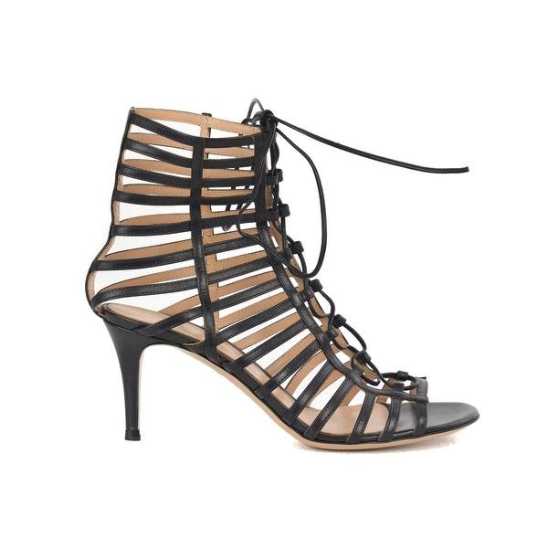 c7e04e6b9917eb Shop Gianvito Rossi Womens Black Caged Leather Lace Up Sandal Heels ...
