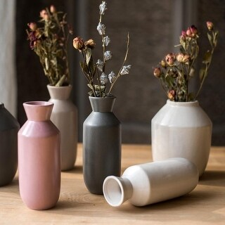 G Home Collection Rustic Small Zen Style Ceramic Vase Randomly Picked Set of 3