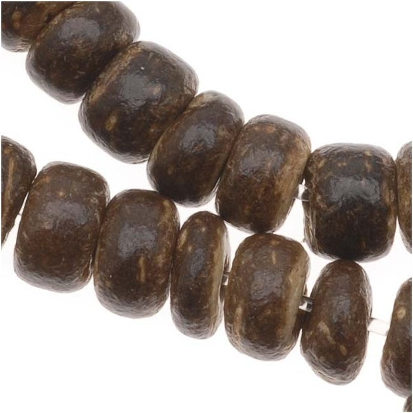 Dark Brown Wood Coconut Shell Rondelle Beads - 5x3mm - 16 Inch Strand