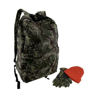 3 Piece Outdoor Camouflage Backpack Gloves and Hat Set