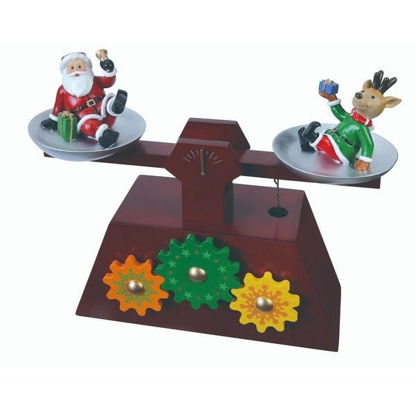 """Pack of 2 Musical Santa and Reindeer Scale Gear Table Top Decorations 6.5"""" - brown"""