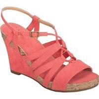 A2 by Aerosoles Women's Poppy Plush Strappy Sandal Coral Faux Suede