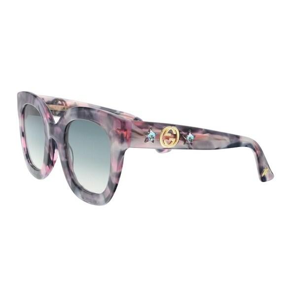 51fb247f791 Shop Gucci GG0208S-004 Purple Pink Marble Square Sunglasses - 48-28 ...