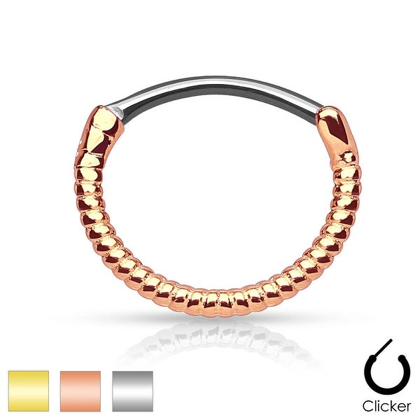 Twisted Roped Line 316L Surgical Steel Round Septum Clicker (Sold Ind.)