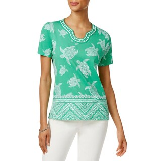 Alfred Dunner Womens Petites Pullover Top Turtle Print Embellished - ps