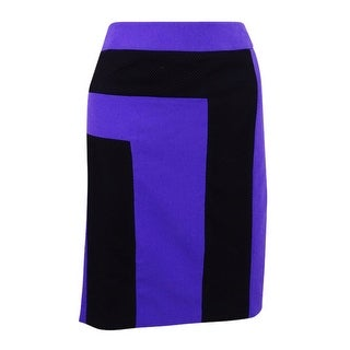 Nine West Woman's Color Block Skirt (2, Violet/ Black) - Violet/Black