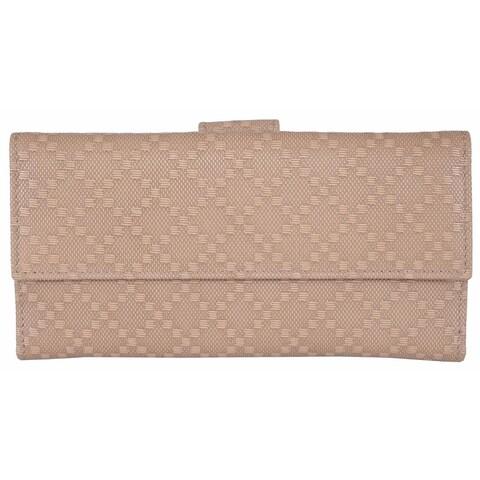 "Gucci 143389 Women's Beige Leather Diamante Continental Wallet - 7"" x 3.5"""