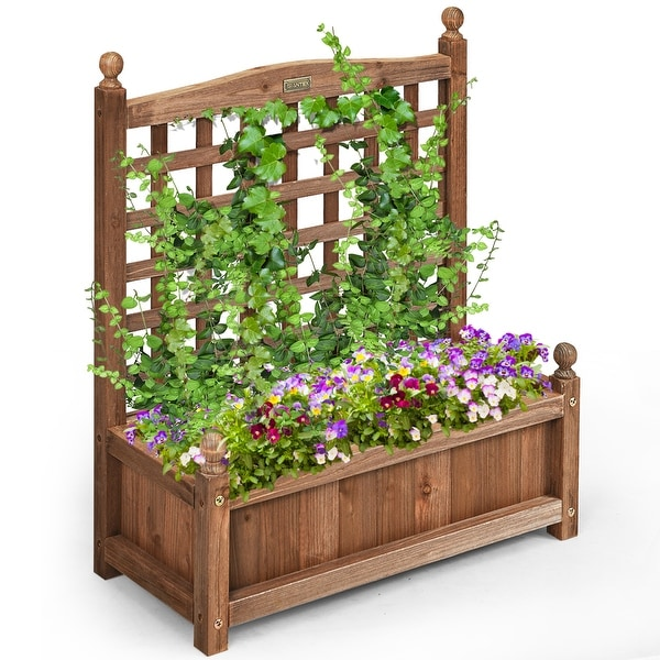 Costway Solid Wood Planter Box with Trellis Weather-Resistant Outdoor - 25'' (L) X 11'' (W) X 30'' (H)