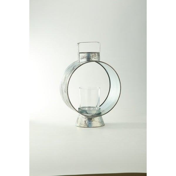 """14"""" Clear Distress Finish Glass Candle Holder - N/A"""