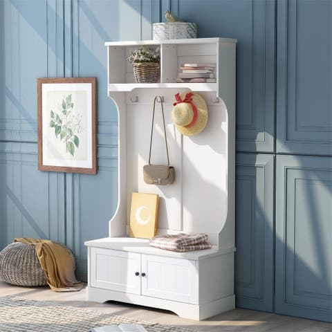 Merax Hall Tree Entryway Bench with Shelves Cabinet and Four Hooks