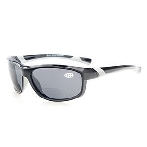 Eyekepper TR90 Unbreakable Sports Bifocal Sunglasses Black Frame Grey Lens+2.0