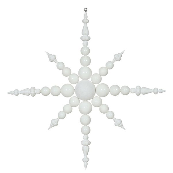 "43"" White & Silver Commercial Shatterproof Radical Snowflake Christmas Ornament"