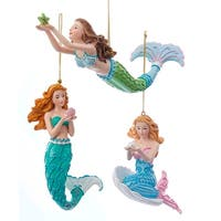 Kurt Adler Mermaid Fantasy Blue and Green Mermaids  Holiday Ornaments Set of 3