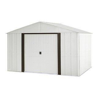 "Arrow Arlington 10' W x 8' L Galvanized Steel Shed with High Gable 62"" Wall Height Sliding Doors / AR108-A"
