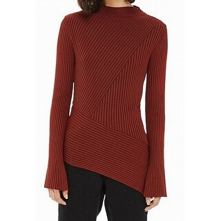 TopShop Brown Womens Size 12 Long Sleeve Striped Textured Knit Top