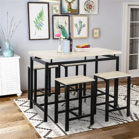 Dining Table with 4 Chairs,5 Piece Dining Set with Counter and Pub Height