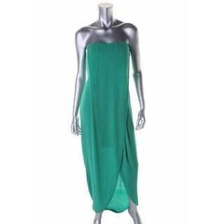 BCBG Max Azria Womens Jesse Chiffon Strapless Evening Dress
