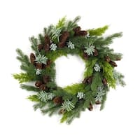 "24"" Green and Brown Artificial Mixed Pine and Succulent Christmas Wreath"
