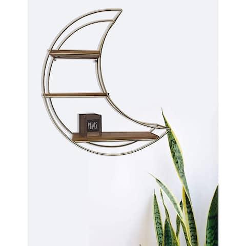 Designstyles 3 Tiered Crescent Moon Wall Shelf