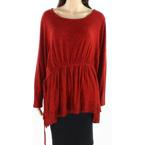 Caslon Women's Blouse Red Size 1X Plus Long Sleeve Cinched Waist