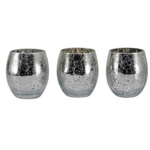 Mark Feldstein VSM3 Mercury Glass Votive Holder, Silver, 3 Piece